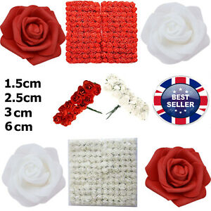 144PCS 2.5CM PE FOAM ROSE ARTIFICIAL FLOWER FOR DIY ROSE TEDDY DOLL BEAR FADDIS