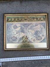 Vintage Gold Blaeu Wall Map 16 x 20 gold foil