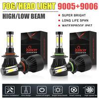4x 4 Sides 9005+9006 2200W 330000LM CREE LED Headlight Bulb Kit Hi/Lo Beam 6000K