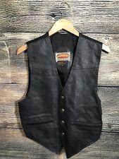 Vintage Paragraff Men's Sz S Leather Vest Black Western 4-Buttons Classic Biker.