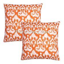 Indian Pillowcase Cover Ikat Kantha Orange Vintage Kantha Cushion Cover Decor