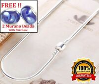 Mothers Day 925 Sterling Silver Womens Snake Chain Barrel Necklace + GiftPkg