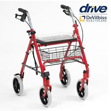 Drive SR8 Steel Rollator 4 Wheel Height Adjustable Mobility Walker with Seat Red