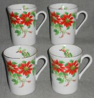 Set (4) Otagiri POINSETTIA HOLLY & BERRY PATTERN Handled Mugs JAPAN Christmas