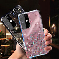 For Samsung Note 20 A21S S20 S10 Plus A51 A71 Glitter Silicone Clear Case Cover