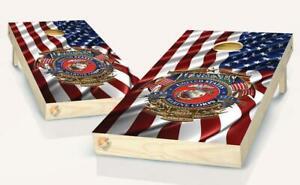 American Flag US Marine Eagle Globe Cornhole Board Vinyl Wrap Laminated Sticker