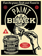 PAINT IT BLACK (BRUSH) s/n screen print shepard fairey obey giant  *SOLD OUT