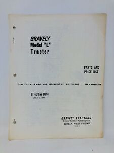 Gravely Tractors Model L Parts and Price List July 1 1960 Vintage