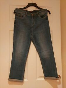 Ladies Cropped Jeggings Size 12 Blue F&F Stretch Turn Ups