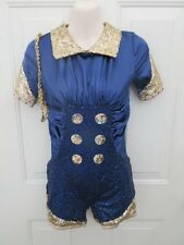 Navy Blue Gold Sequin Solider Jazz MT Dance Costume Small Adult SA