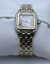 VINTAGE LADIES CARTIER 18K & STAINLESS 3 STRIPE PANTHERE WATCH