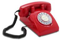 Opis 60s cable mit Deutsche-Post-Einleger: Retrotelefon mit Wählscheibe rot