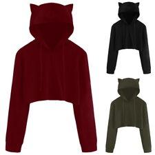 Damen Kapuzen Pullover Hoodie Sweatshirt Jacke Mit Ohren Tops Einfarbig Oberteil