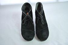 Tom's Black Suede Wedge Boots Women's Sz 9W
