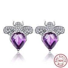 Cocktail Oval Cut Amethyst & White Topaz 100% S925 Sterling Silver Stud Earrings