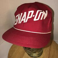 Vintage SNAP-ON 80s USA K-PRODUCTS Red Mesh Trucker Hat Cap Snapback Rope Cord