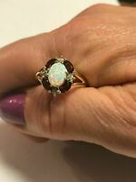 3Ct Oval Cut Opal & Garnet & Diamond Women's Wedding Ring 14K Yellow Gold Finish
