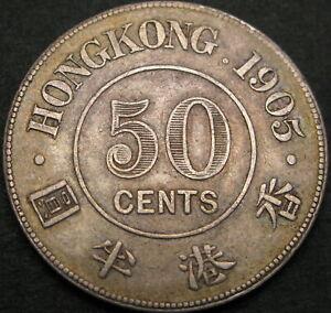 HONG KONG 50 Cents 1905 - Silver - VF+ - 1236 ¤