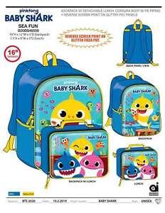 Baby Shark Boys Girls School Backpack BookBag Insulated Lunch Box Kids Toy Gift