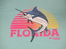 COLUMBIA SPORTSWEAR FLORIDA NEON BEACHY LOGO LIGHT BLUE LARGE T-SHIRT D1330