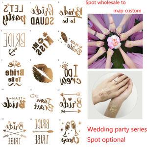 Gold Team Bride Temporary Tattoo Stickers Wedding Hen Party Night Accessories