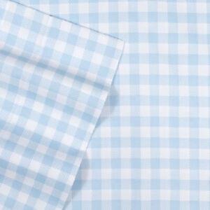 Blue Gingham Pattern Kids Sheet Set Twin, Twin XL, Full