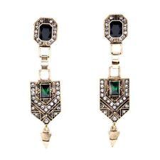 Vintage Art Deco Style Dangle Gold Green Earrings Gatsby Gift Quality UK