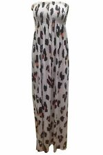 Plus Size Womens Ladies Printed Gathered Boob tube Bandeau Sheering Maxi Dress