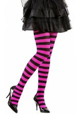 Black and Pink Striped Tights Hosiery XL Plus Size Fancy Dress  (16-20)
