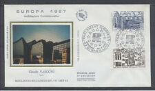 FRANCE FDC - 2471 2472 1 EUROPA ARCHITECTURE - STRASBOURG 25 Avr 1987 -LUXE soie