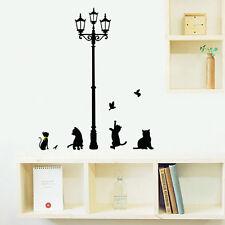 Street Lamp Removable Cat Bird Wall Sticker Decals Mural Home Decor Vinyl Art