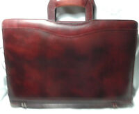 Vintage Leather Slim Briefcase Attache in Burgundy