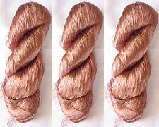 Silk 3 Reel Skeins Yarn Lace Sari Knit Crochet 345g Weaving Thread Knitting Work