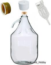 SET 4tlg. 5L Gärballon Flasche + Stopfen + Gärröhrchen+VERSCHLUSS  Wein machen