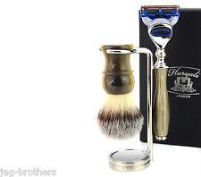 GIFT SET FOR MEN (Brush horn handle Gillette Fusion Horn handle steel Holder)