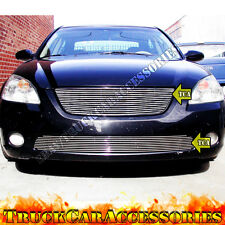 For 2002 2003 2004 NISSAN Altima 2PC Polished Grille Combo Upper w/o Logo+Bumper
