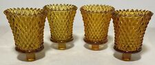 Vintage Lot-4 Amber Glass Votive Tea Candle Holders Diamond Pattern-Pegs-Homco