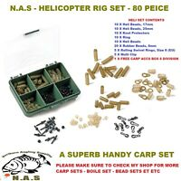 NEW NAS CARP HELICOPTER RIG SET 80 PC RIG ACCESSORY BOX TERMINAL TACKLE KIT SET