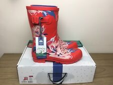 BNWT Joules Molly Mid Height Printed Wellies Size 8 Red Floral Women's Boxed