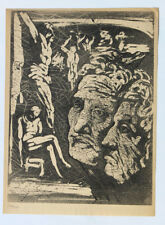 1955 René-Jean CLOT Lithographie originale en noir 1/200 Visages araignées Enfer