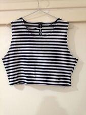 Factorie Ladies Crop Top B&W Stripes Size M Good Condition