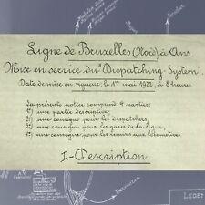 VINTAGE Reproduction document manuscrit 1922 future SNCB NMBS Ligne Bxl - Ans