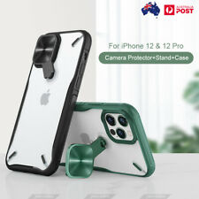 For iPhone 12 Pro Max Case Camera Protector With Kickstand Clear Back Cover 12