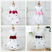 Kids Girls Toddler Flower Girl Dress Butterfly Party Wedding Formal Pageant Gown