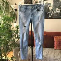 AMERICAN EAGLE sz 12 Distressed Super Stretch Super Low Rise Jegging Jeans