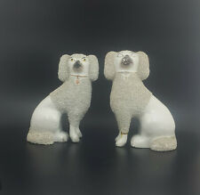 More details for staffordshire figurines pair of large spaniel dogs - restored