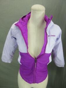 Columbia Size XXS(4/5) Girls Purple Full Zip Nylon Insulated Hooded Jacket T538