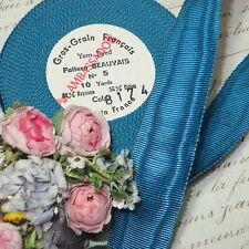 "1y Vtg 1"" French Moire Dark Turquoise Blue Cotton Rayon Petersham Trim Hat Work"