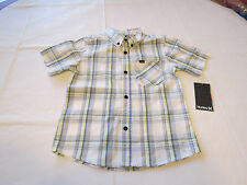 Boy's kids youth Hurley 6 881056 782 Sail white plaid button up shirt boys NWT