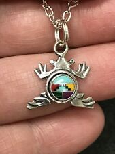 Native American Frog Zuni Gemstone Vintage Pendant Sterling Silver D-2675L